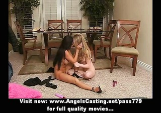 non-professional lesbo pair in 76 and toying