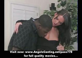 lengthy hair dark brown girl having interracial