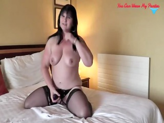 bawdy british wife strapon and cum covered