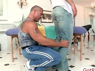 muscled older man receives massaged part7