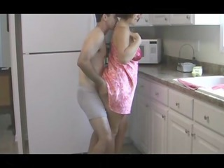 son fucking chubby mother in kitchen