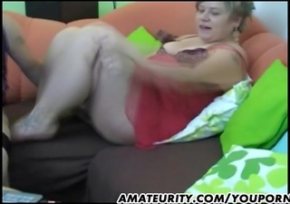 breasty and chubby amateur wife sucks and