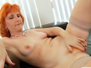 redhead milf copulates hairy cunt