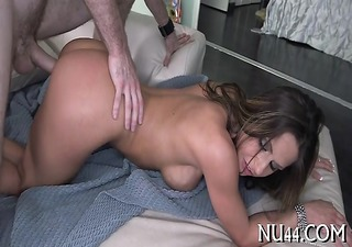 beautiful girl is licked and gangbanged