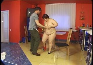 big lady receives a load