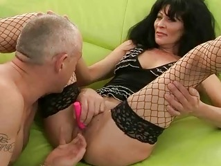 granny in stockings gets her slit drilled