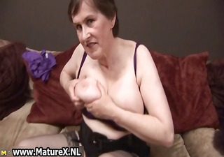 sixty year old lady showing of her large part6