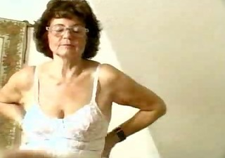 granny in stocking dildoing her old cum-hole