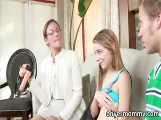 very sexy slim stepmom teacher her stepdaughter