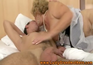 unshaved granny in lingerie fucks and sucks