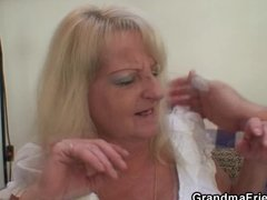 drunk blond granny in hawt threesome orgy