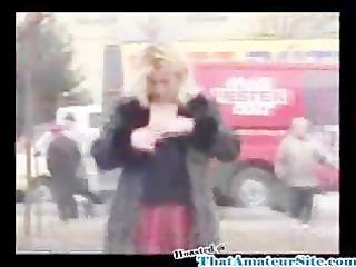 drunk bitch urinates in street