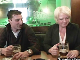 sexy threesome with completely drunk granny