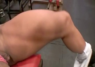 tanned muscle woman working out her cum-hole