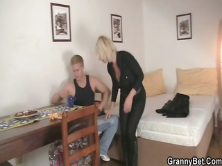 old golden-haired rides his stiff pounder