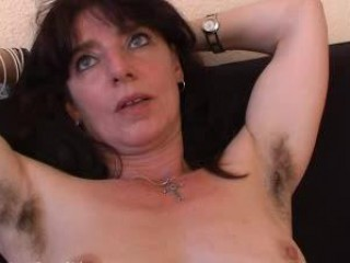 hairy aged non-professional in pants spreads her
